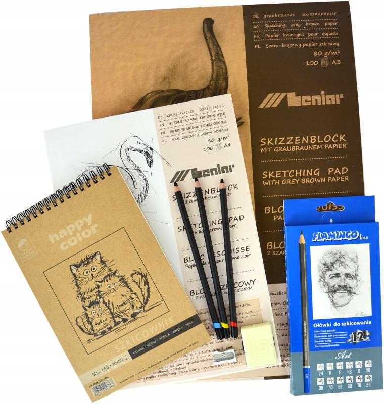 Zestaw do SZKICOWANIA   węgle szkicowniki ołówki
