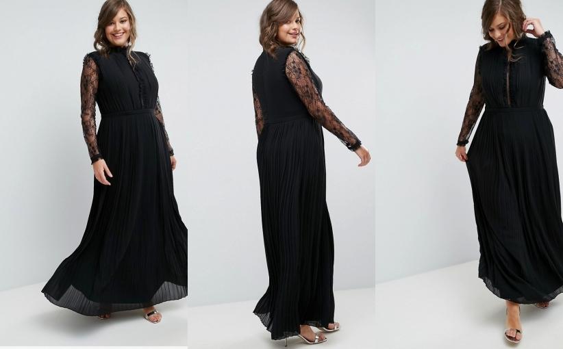 2457e35b1d TFNC Plus Plisowana czarna sukienka maxi (48) - 7384626475 ...