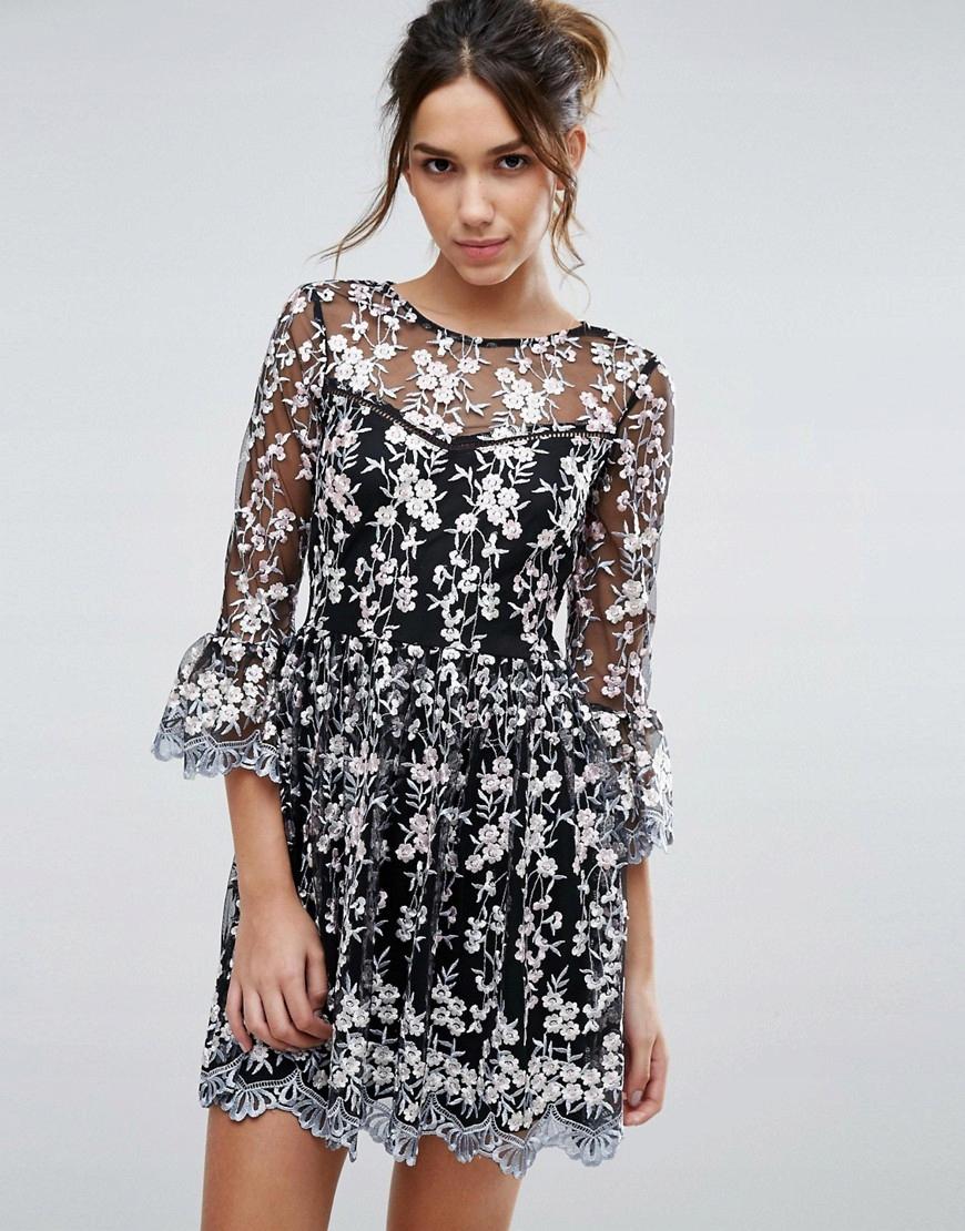 3f4ae0156c Sukienka rozkloszowana LIPSY koronka czarna L - 7448672173 ...