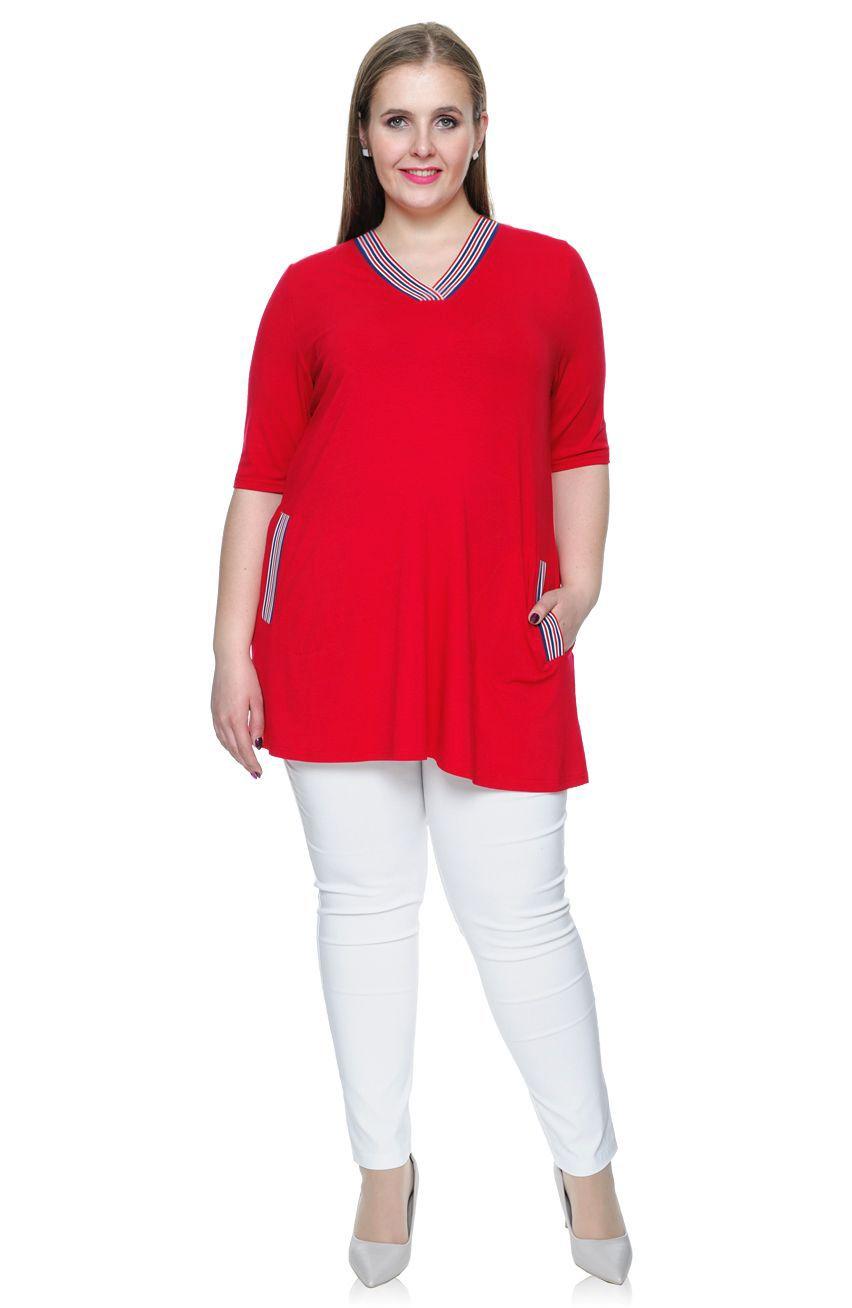 4bae121657ffae Czerwona tunika z kieszeniami i wstawkami 50 - 7373306186 ...