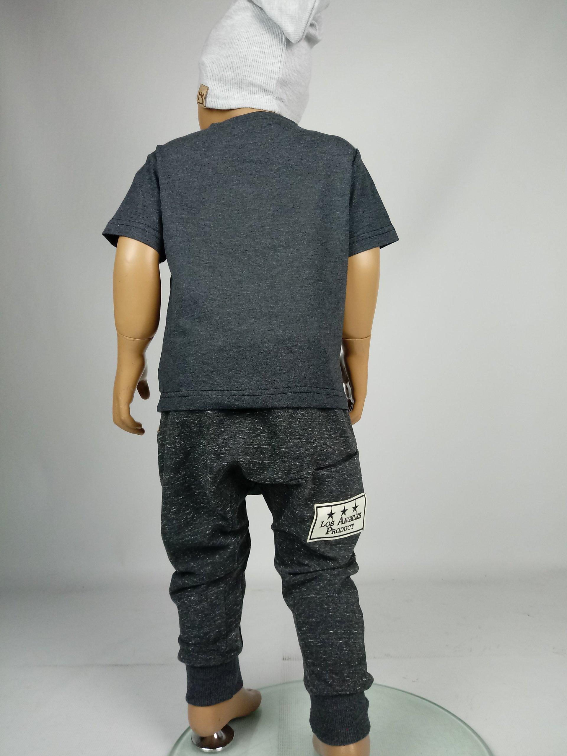MIMI spodnie dresowe baggy pumpy grafit melanż 98