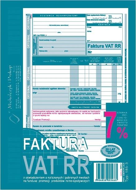 Faktura Vat Dla Rolników Rr 185 3 Nowy Wzór 6813943230 Oficjalne