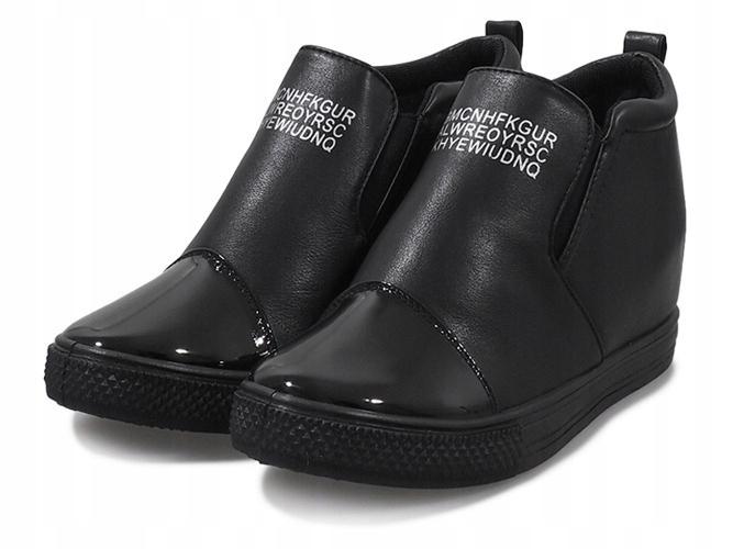 714b94ec7650c Czarne sneakersy koturny trampki botki DD408-1 41 - 7561433595 ...
