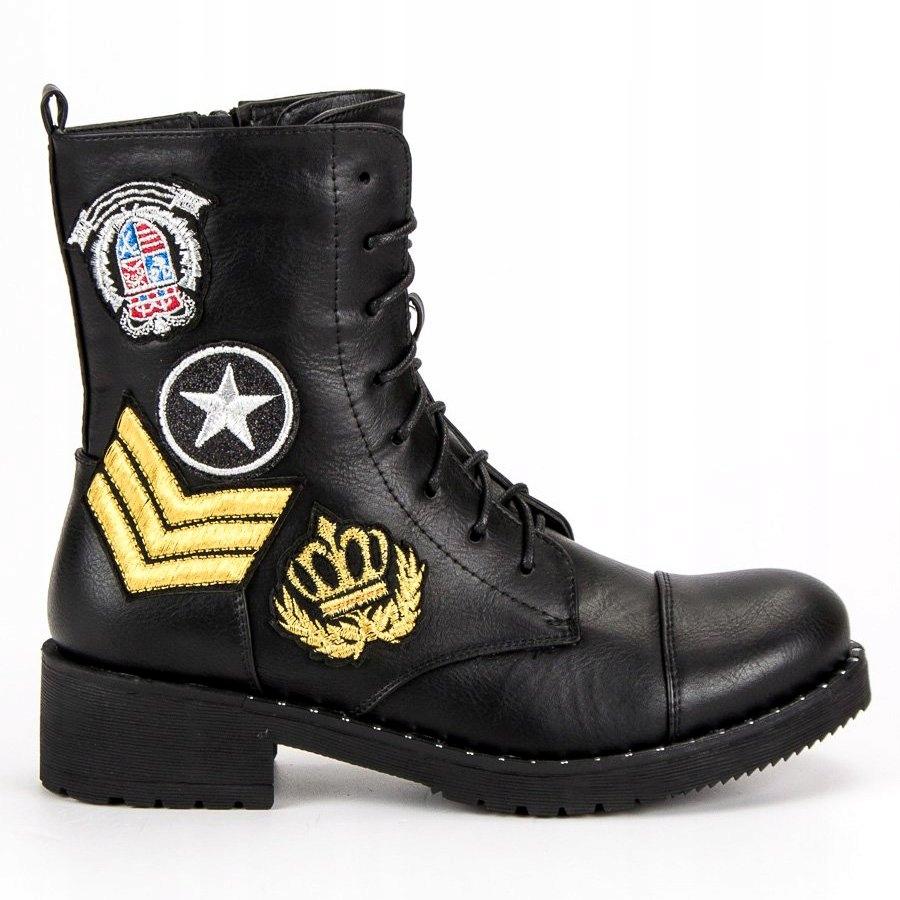 53935e985d7a5 Czarne militarne botki r.37 - 7673095869 - oficjalne archiwum allegro