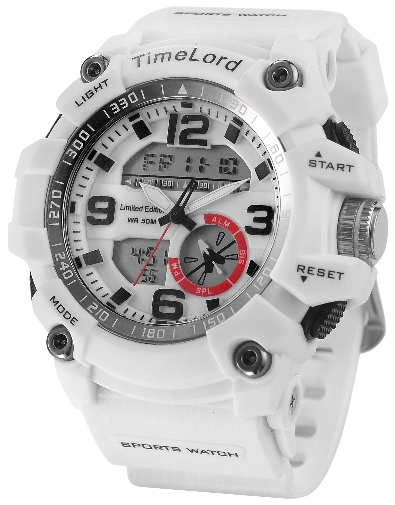 Męski Zegarek Sportowy TimeLord Biały Super Design