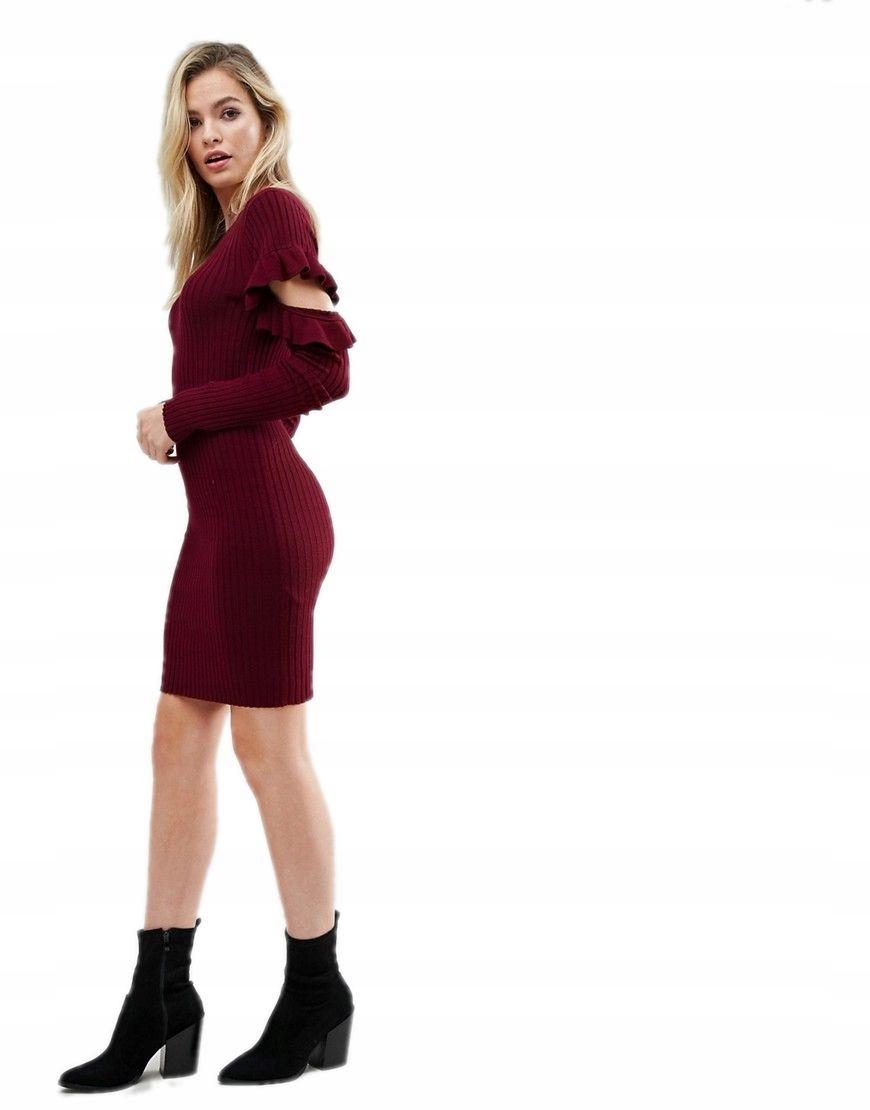 fdb686395d sukienka MINI dzianinowa SWETER ramiona XS 34 - 7175092826 ...