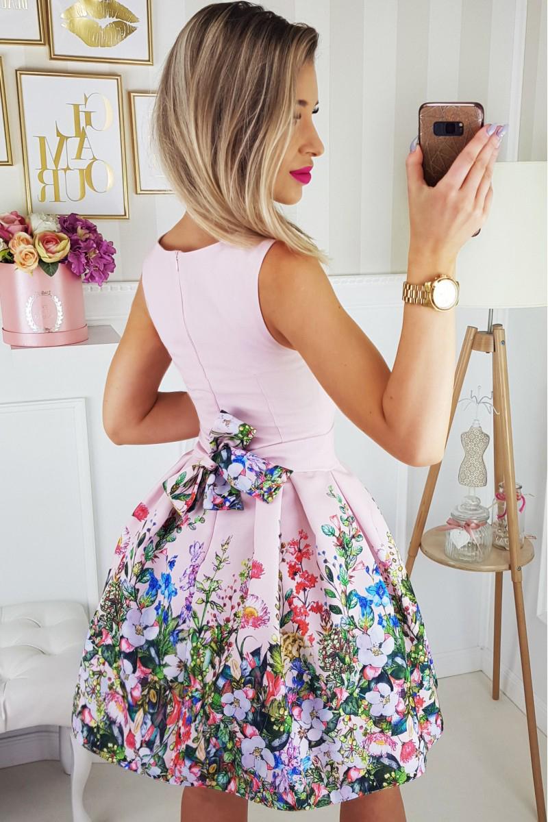 666dae005d Sukienka elegancka rozkloszowana wesele kwiaty XS - 7397267254 ...
