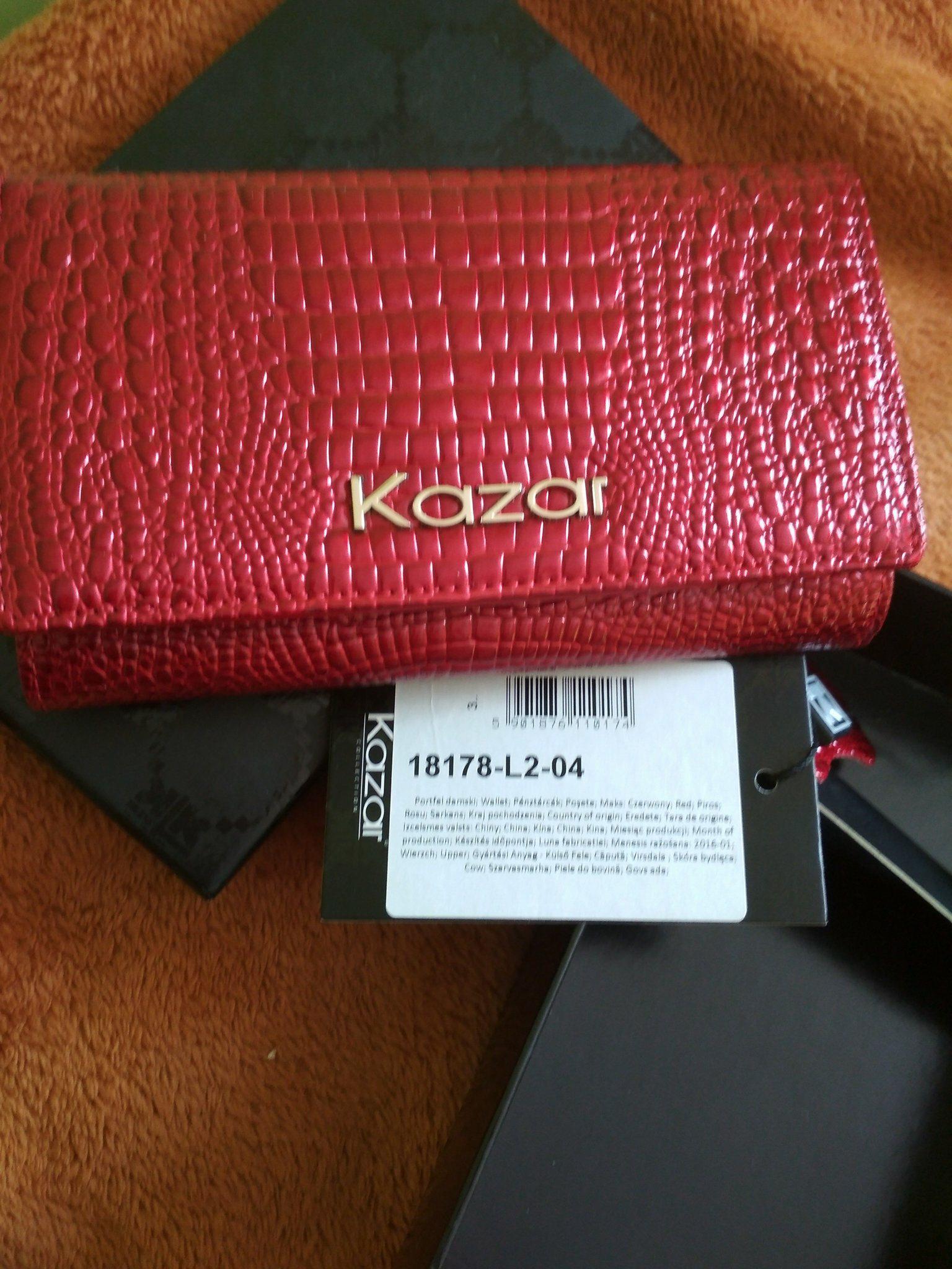 10a6f530 Portfel damski czerwony Kazar skóra okazja - 7215634588 - oficjalne ...
