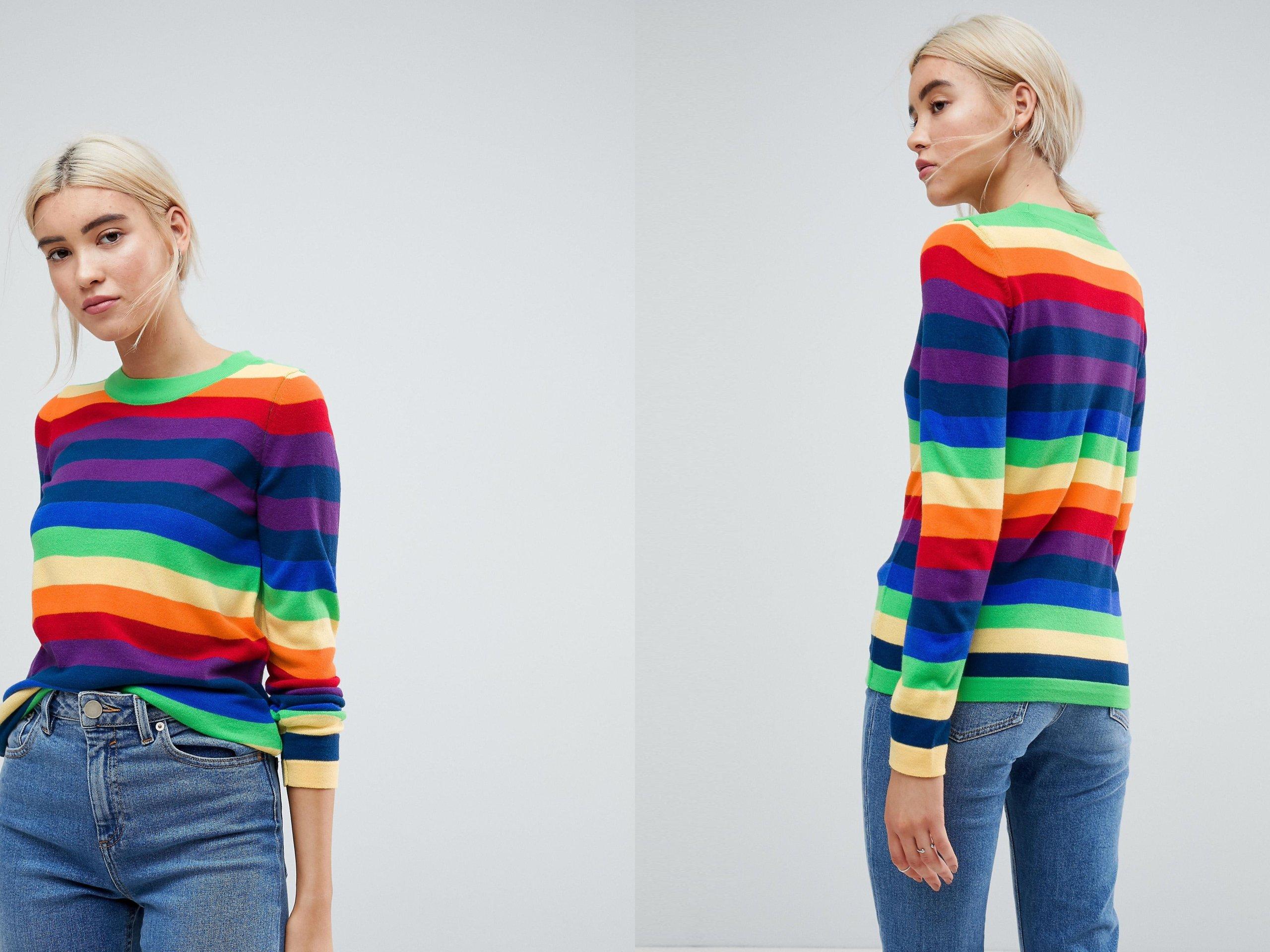 02a8ffb874e3b5 Kolorowy sweter damski w paski XS/34 - 7274911344 - oficjalne ...