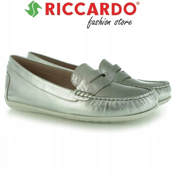 bddf2a9ccccec Komfortowe srebrne MOKASYNY damskie GINO ROSSI 38 - 6829615825 ...