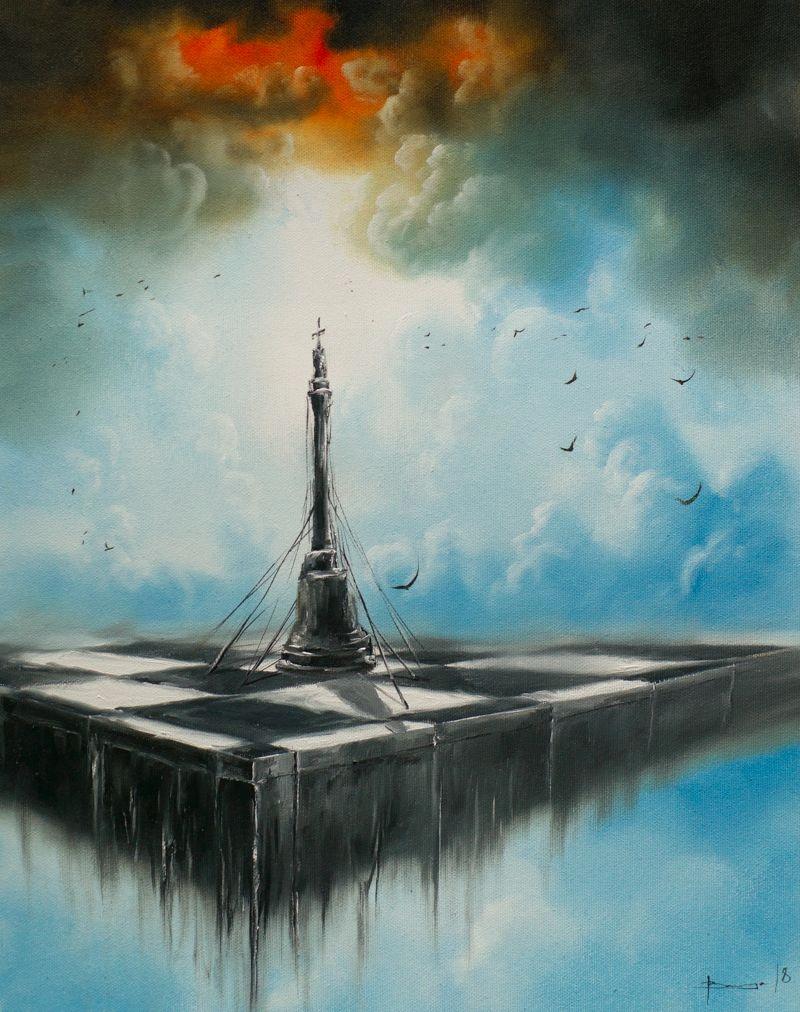Wszystkie nowe król DUŻY OBRAZ OLEJ na PŁÓTNIE surrealizm SZACHY - 7469716099 BU92