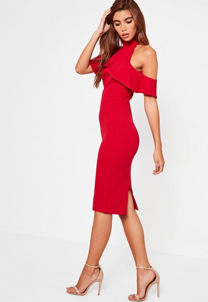 05c37b0662 MISSGUIDED Ołówkowa Sukienka Elegancka Czerwona 36 - 7194274924 ...