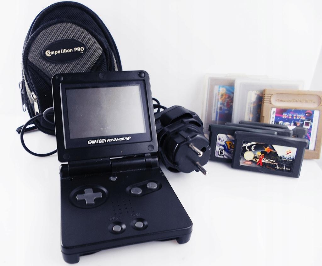 Game Boy Advance SP (AGS-001) + etui, ładowarka, 7