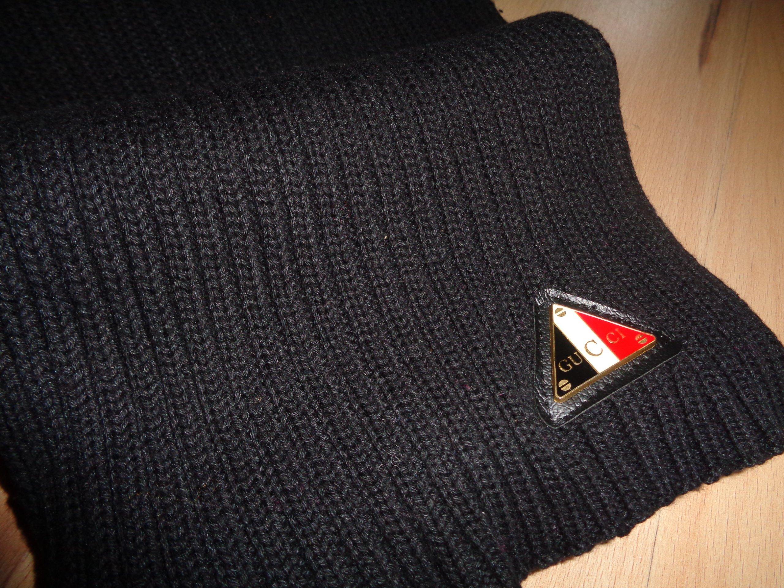 e60325199fab3 GUCCI - oryginalny czarny męski szal szalik OKAZJA - 7163504065 ...