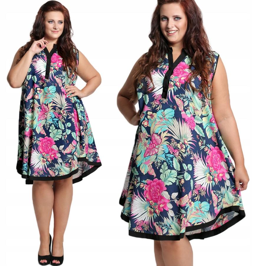 706f5ad693 Sukienka rozkloszowana kwiaty PLUS SIZE D87 44 - 7422287828 ...