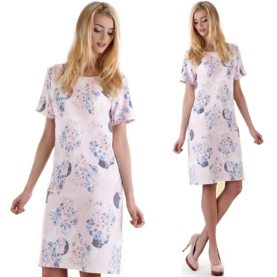 acba627538 M16 Elegancka sukienka w koła WESELE R46 róż SALE - 7364615507 ...