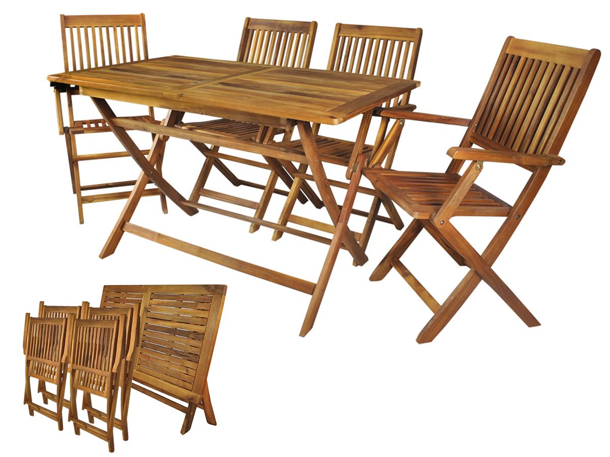 Meble Ogrodowe Drewniane Skladane Stol 4 Krzesla 7274511927