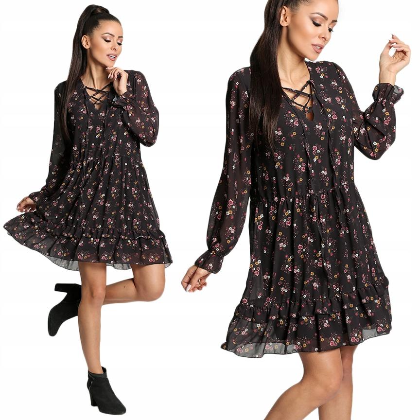 88ffe1ac Sukienka z falbaną we wzory wiązany dekolt G59 W2 - 7707847399 ...
