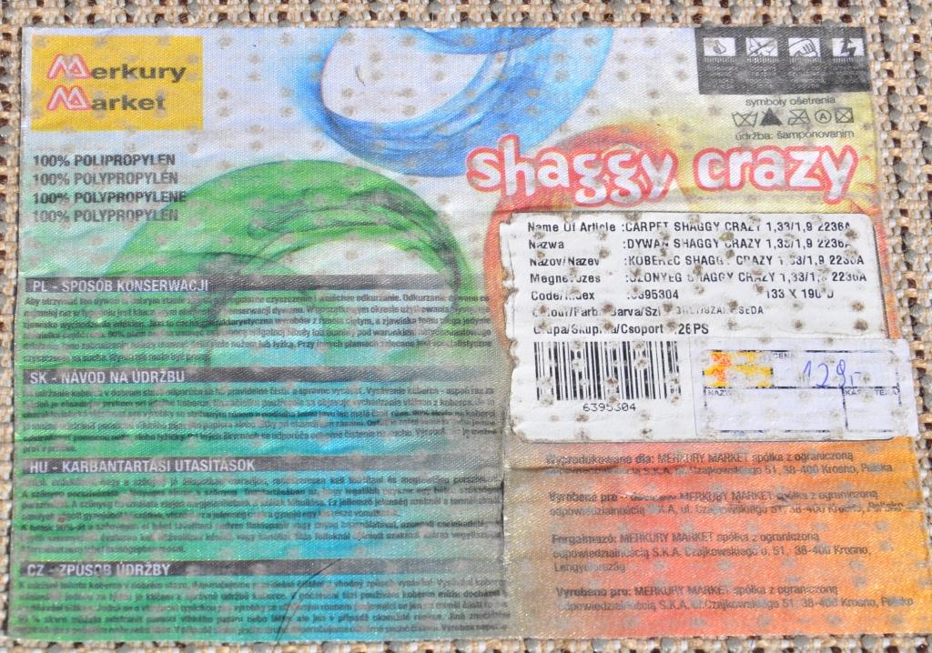 Dywan Shaggy Szary 133x190 Stan Dobry 7333760638