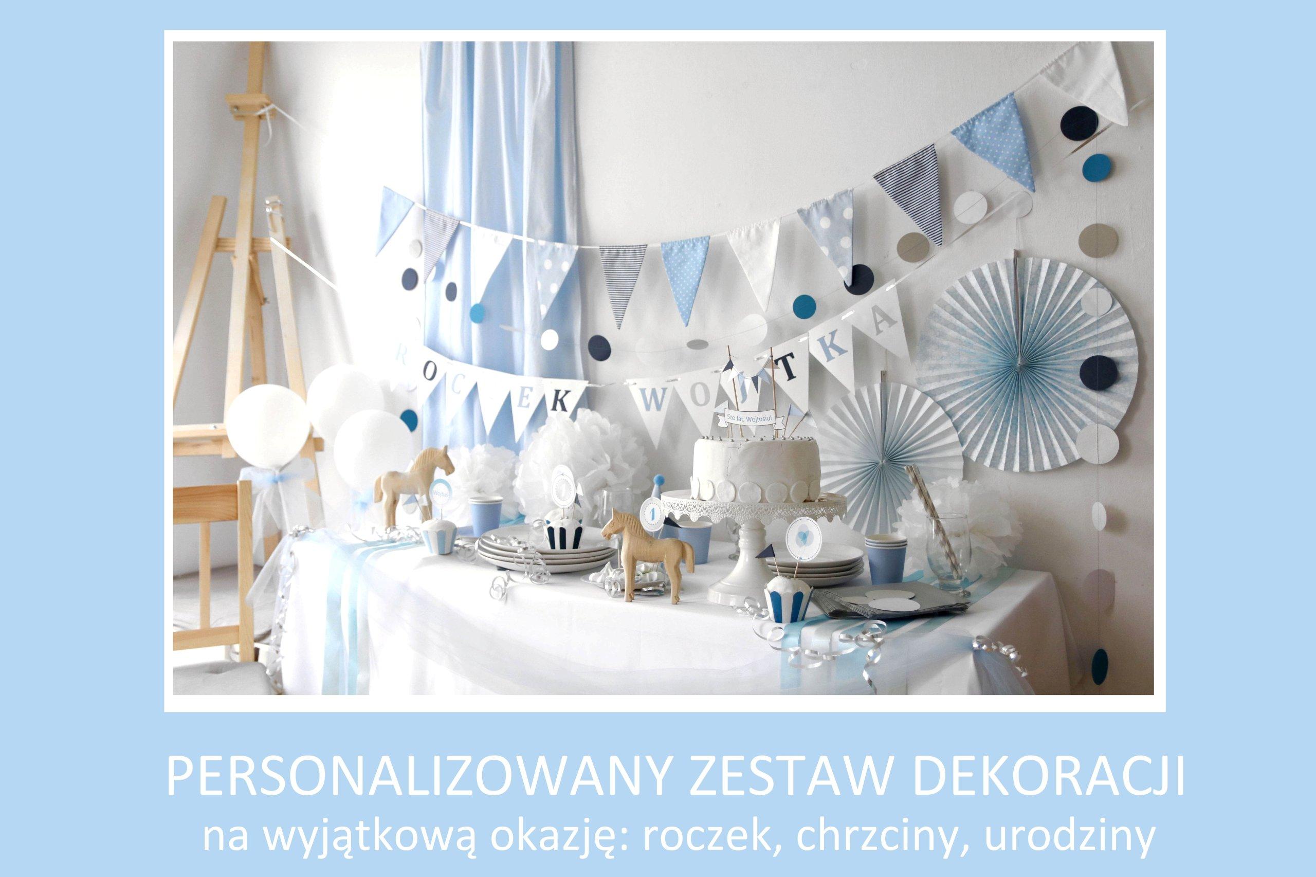 Piękny Zestaw Dekoracje Na Roczek Urodziny Błękit 7079699086