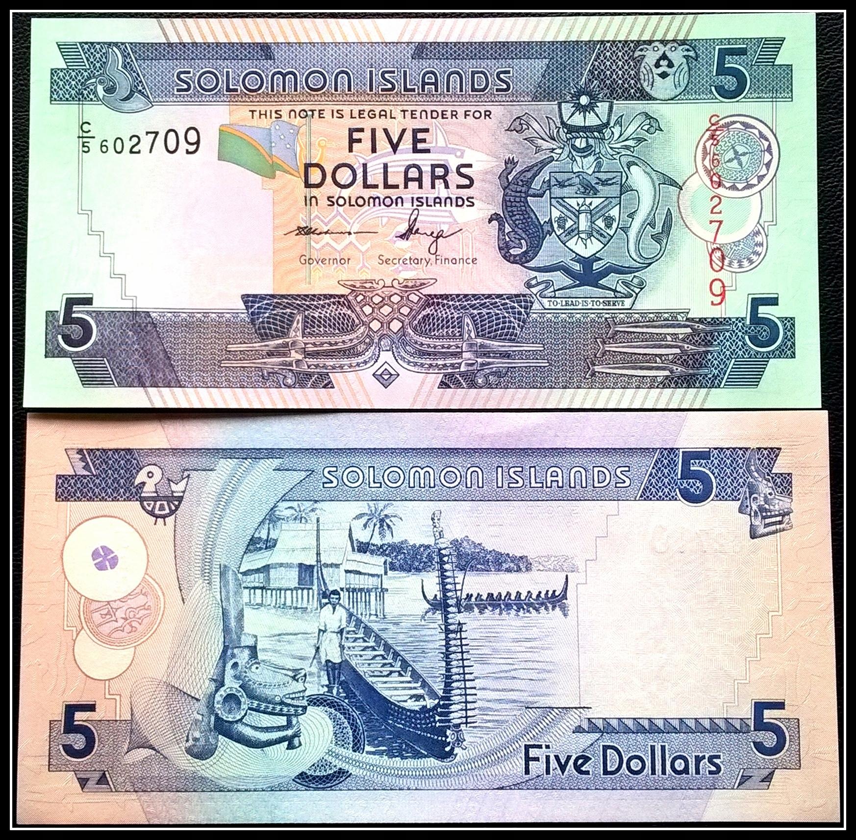 Banknot Wyspy Salomona 5 Dolarów 2008r. UNC