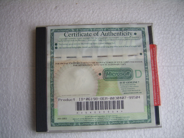 CERTIFICATE OF AUTHENTICITY MICROSOFT EXCEL 97