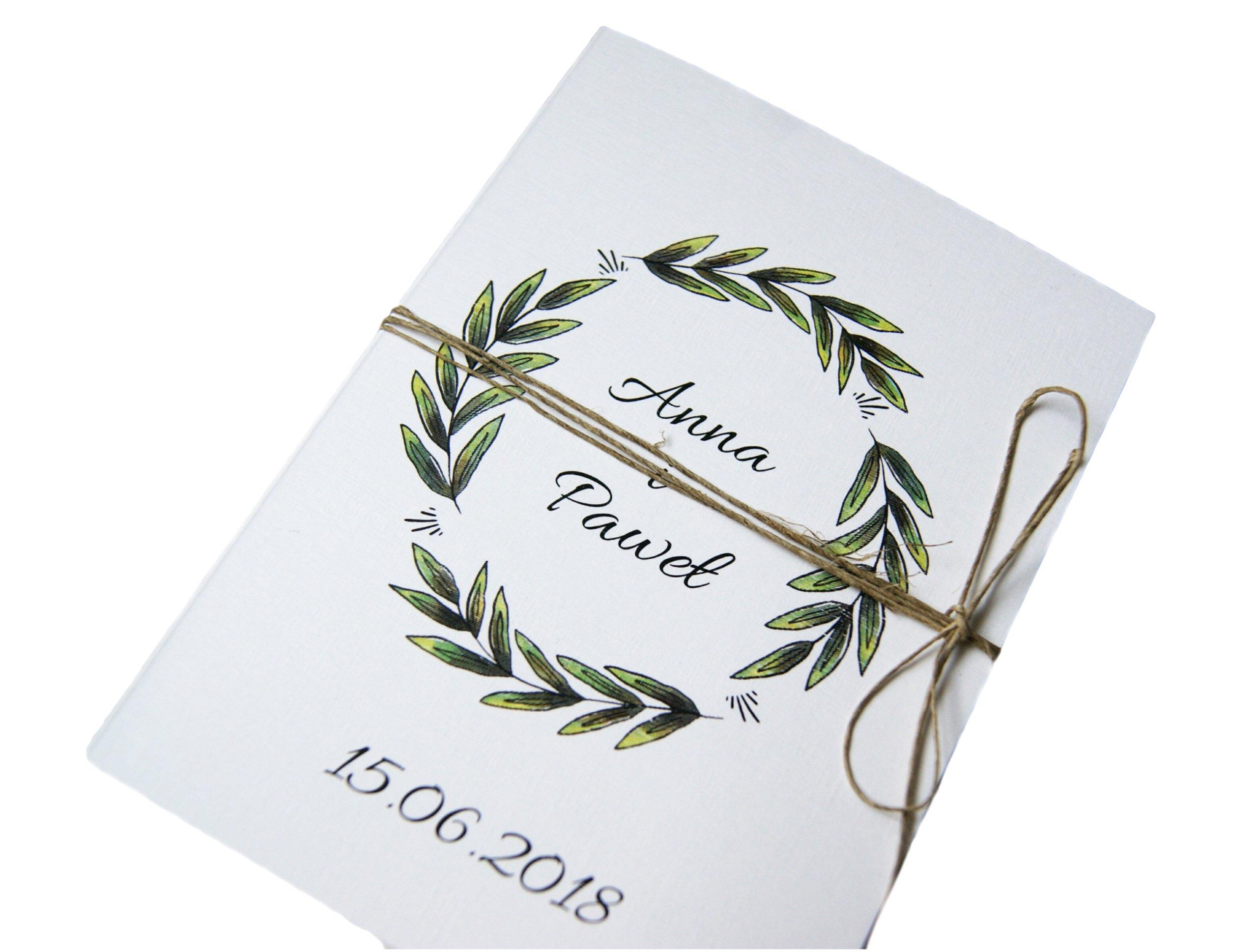 Zaproszenia ślubne Rustykalne Botaniczne Sznurek 7115194996