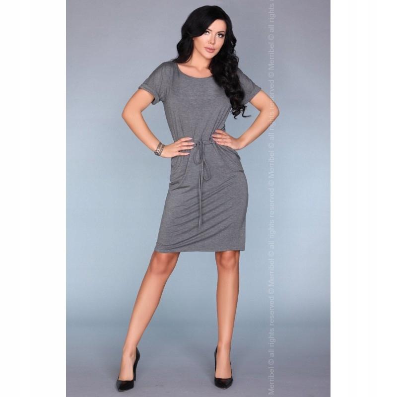 687d9a39a4 Casualowa sukienka dresowa ze ściągaczem w pasie S - 7455475821 ...