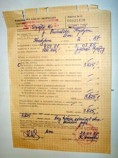 POLISA Ubezpieczenia mieszkania z 1988r.