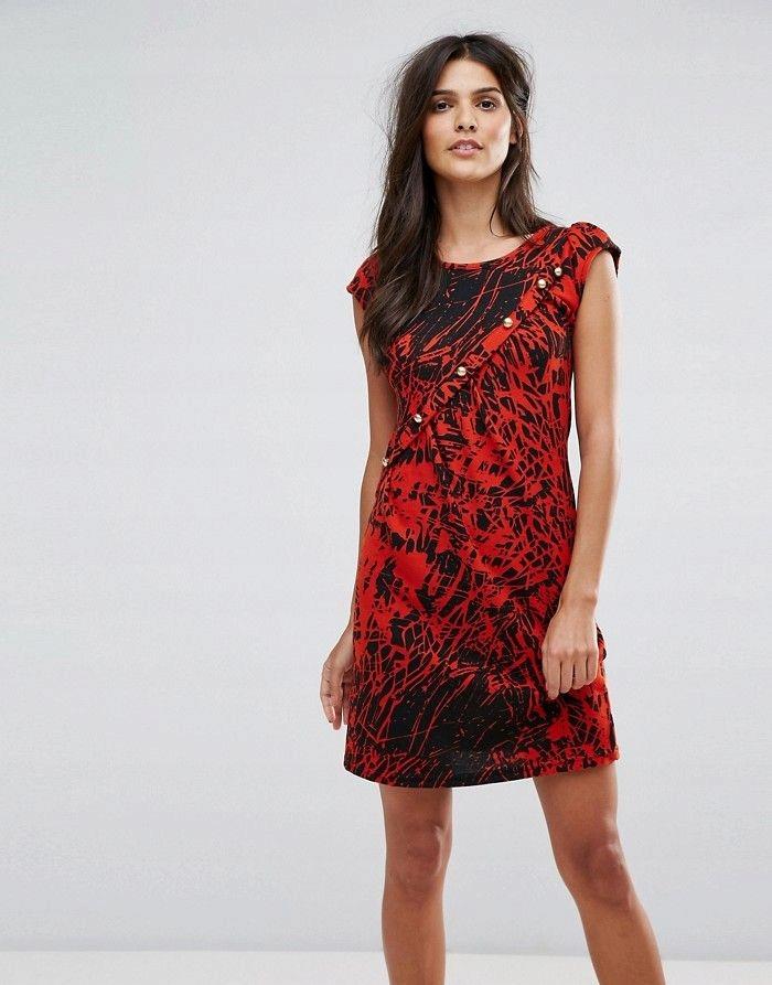 d6eb7ac9ff JASMINE Czerwona dzianinowa sukienka guziki (36) - 7457929342 ...