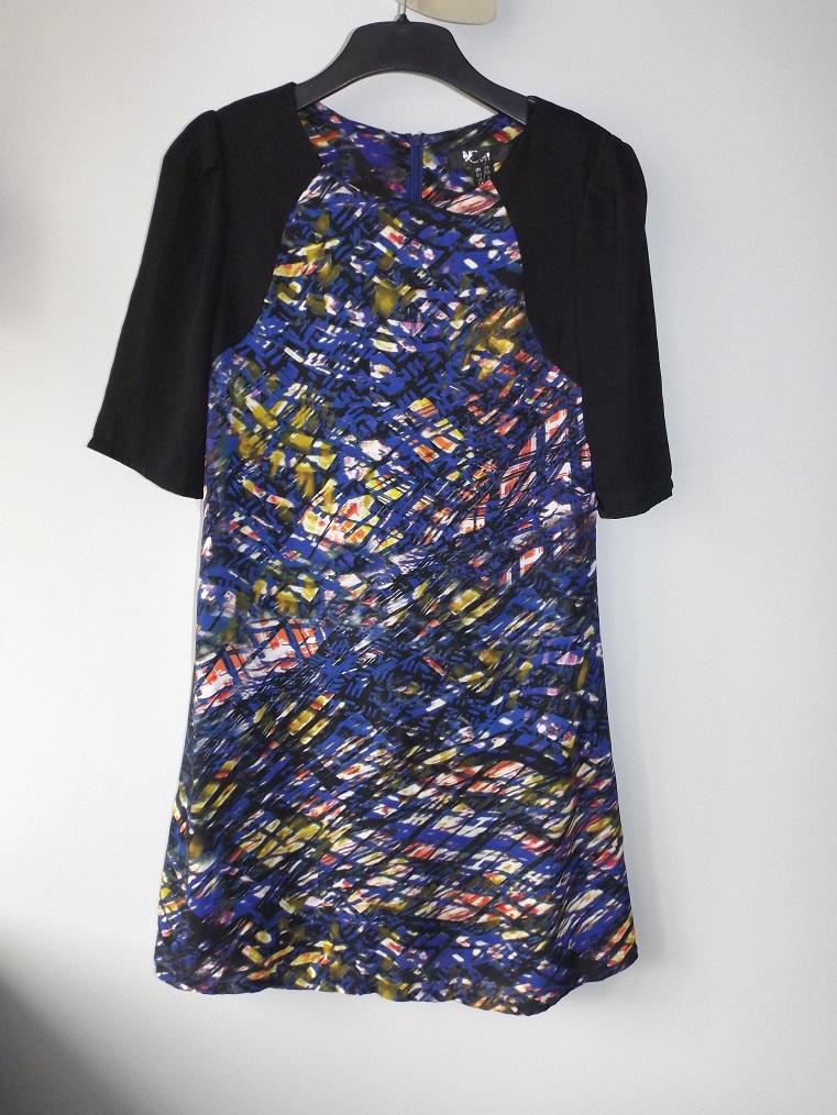 cf6b1b1b15 niebieska sukienka kolorowe wzory r. 38 M - 7423621082 - oficjalne archiwum  allegro