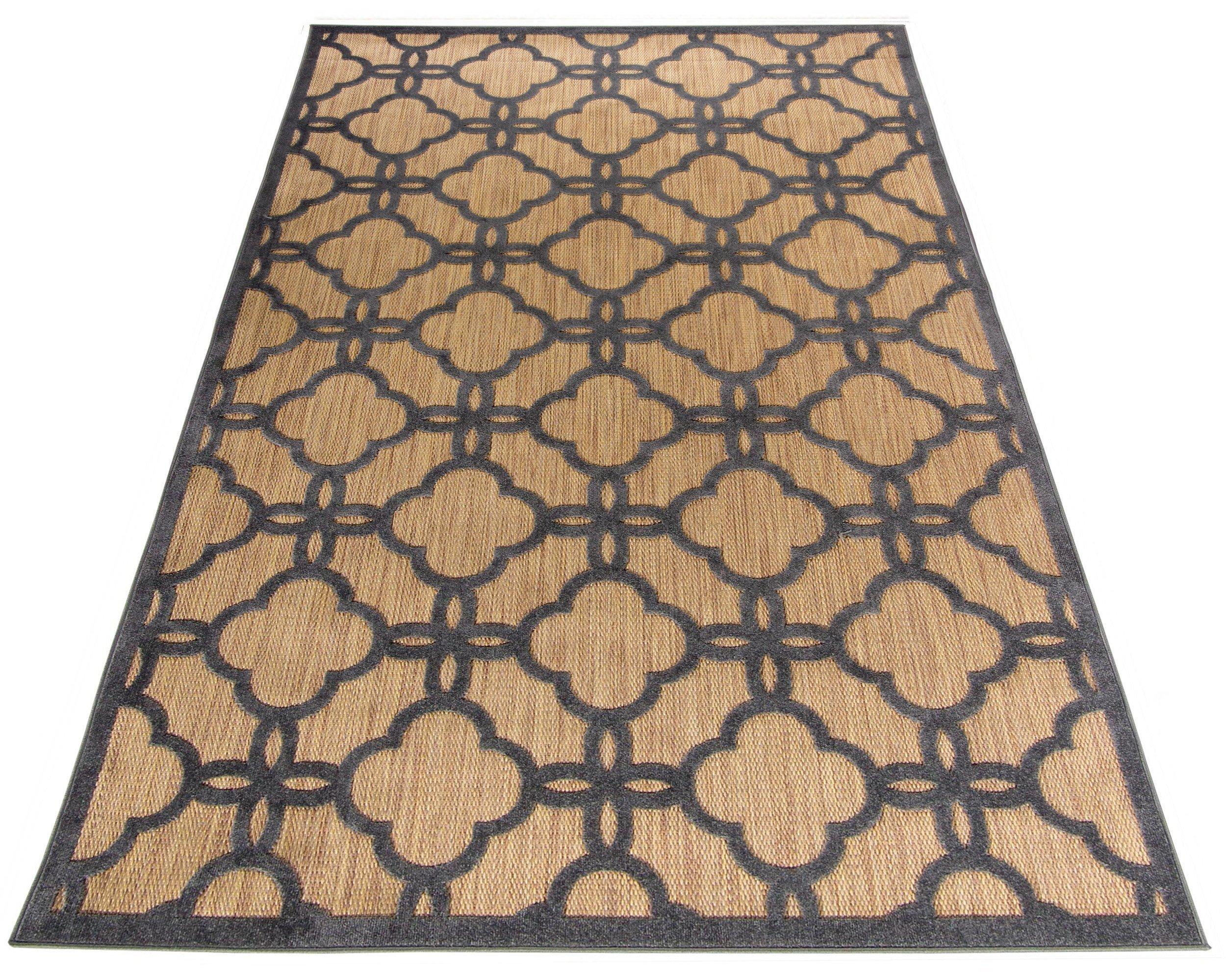 Dywan Sznurkowy 152x230 Na Taras Marocco Beżowy 3d