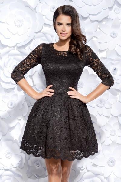 43d7d7df87 Rozkloszowana sukienka pokryta koronką - czarna S - 7213050604 ...