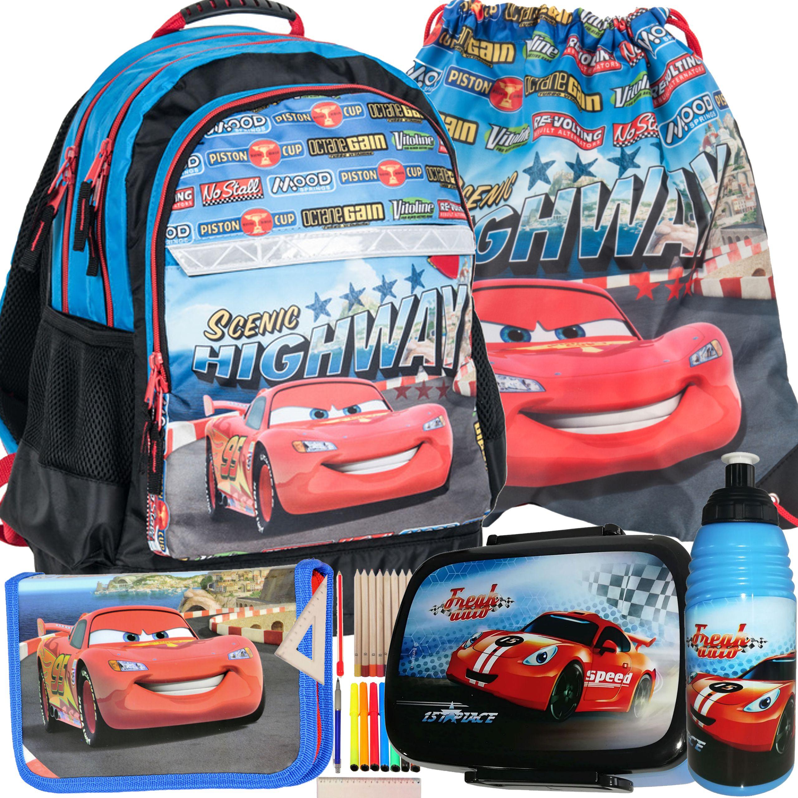 158b787be1688 PLECAK SZKOLNY CARS ZYGZAK Auta 3 AUTO ZESTAW 5cz - 6884534432 ...
