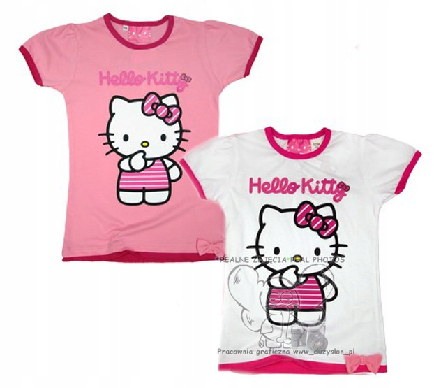T-SHIRT HELLO KITTY KOKARDKA brokat bawełna 134 Bi