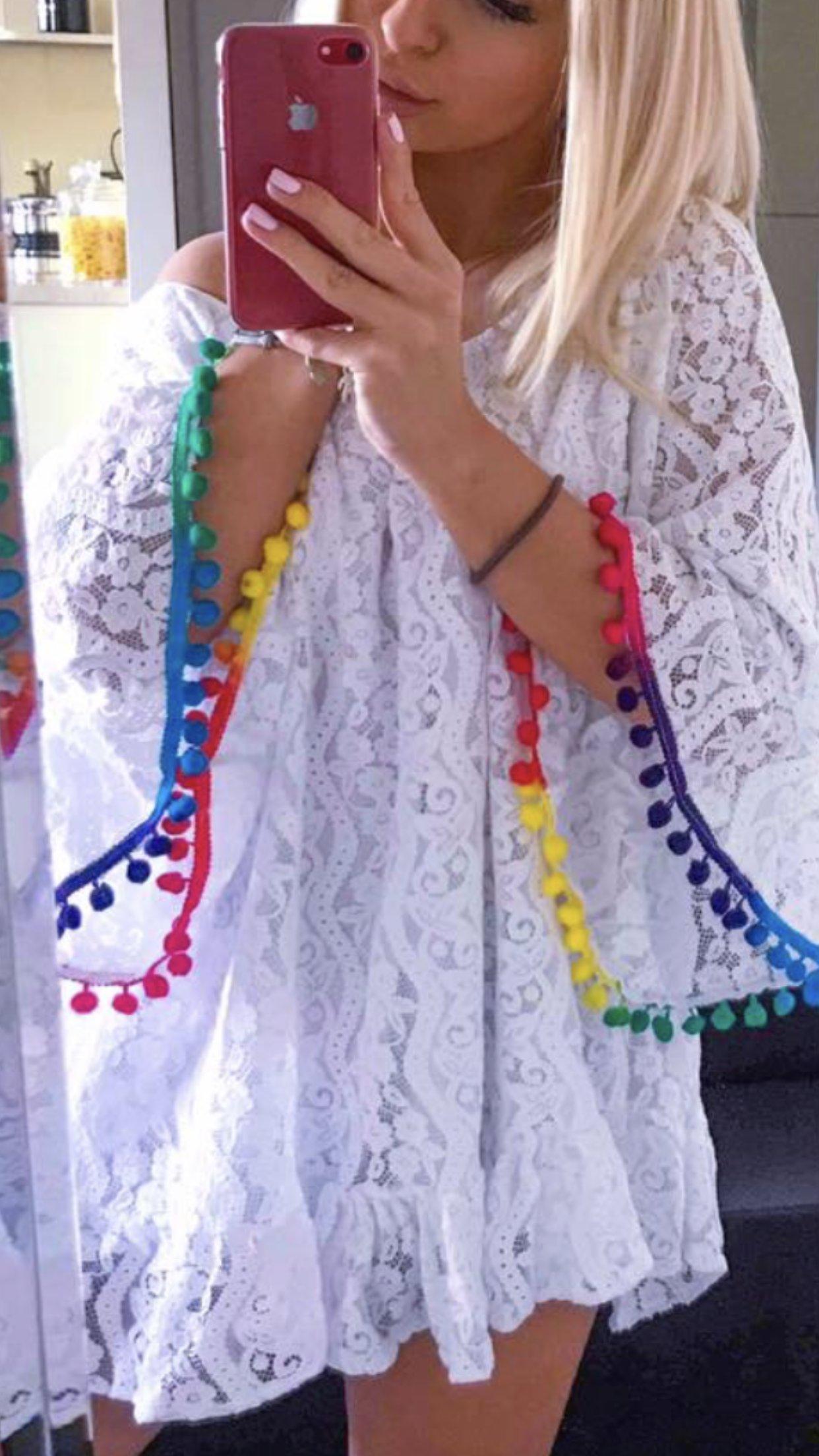 5d894584 New wiosna sukienka boho biała koronka niwersalny - 7313653340 ...