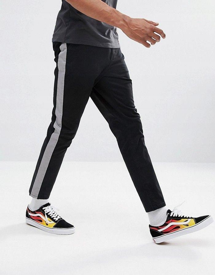 ASO Czarne spodnie lampasy (W32L32)