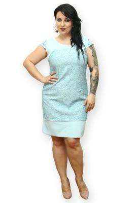 137d0d9eca5e87 Sukienka ołówkowa Ines koronka i wstawki błękit 50 - 6906045017 ...