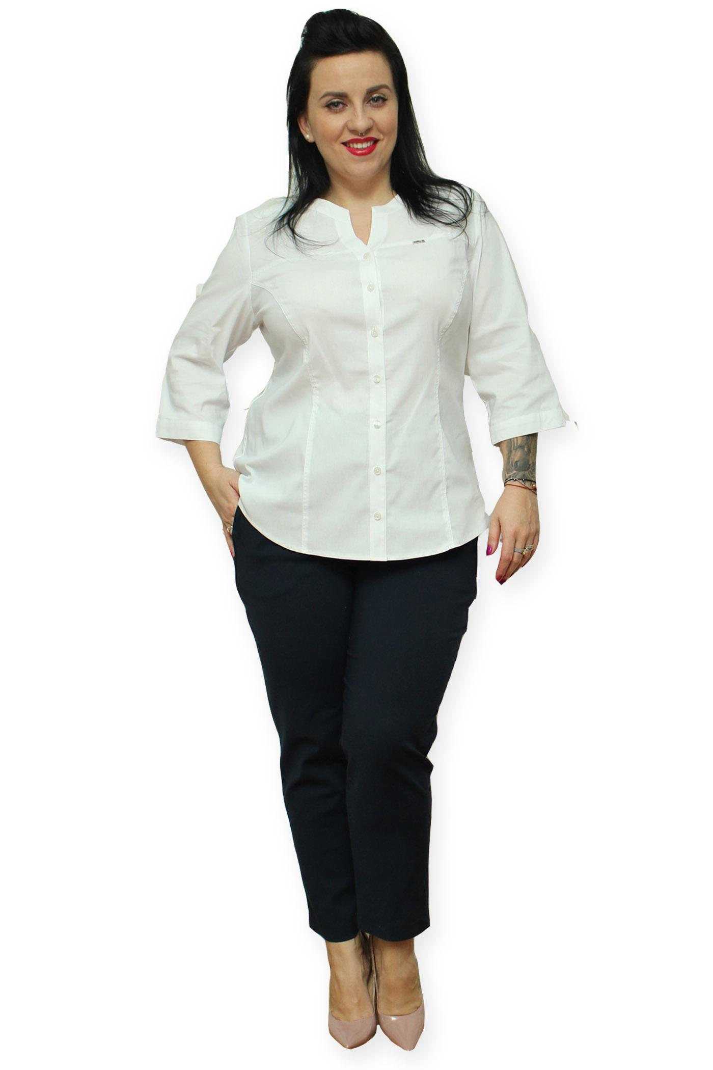 cecc14a3d4 Bluzka koszulowa Sandra stójka biała 54 - 6881530685 - oficjalne ...