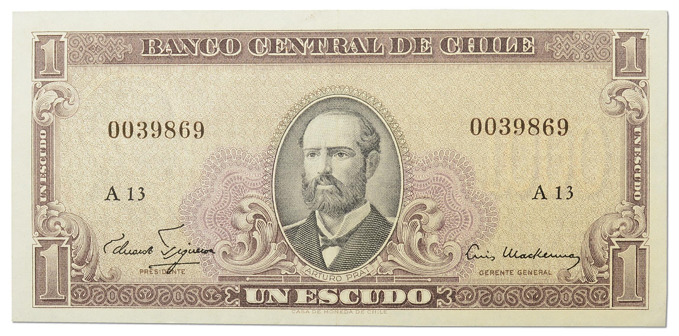 3.Chile, 1 Escudo 1964, P.135.a, St.1-/2+
