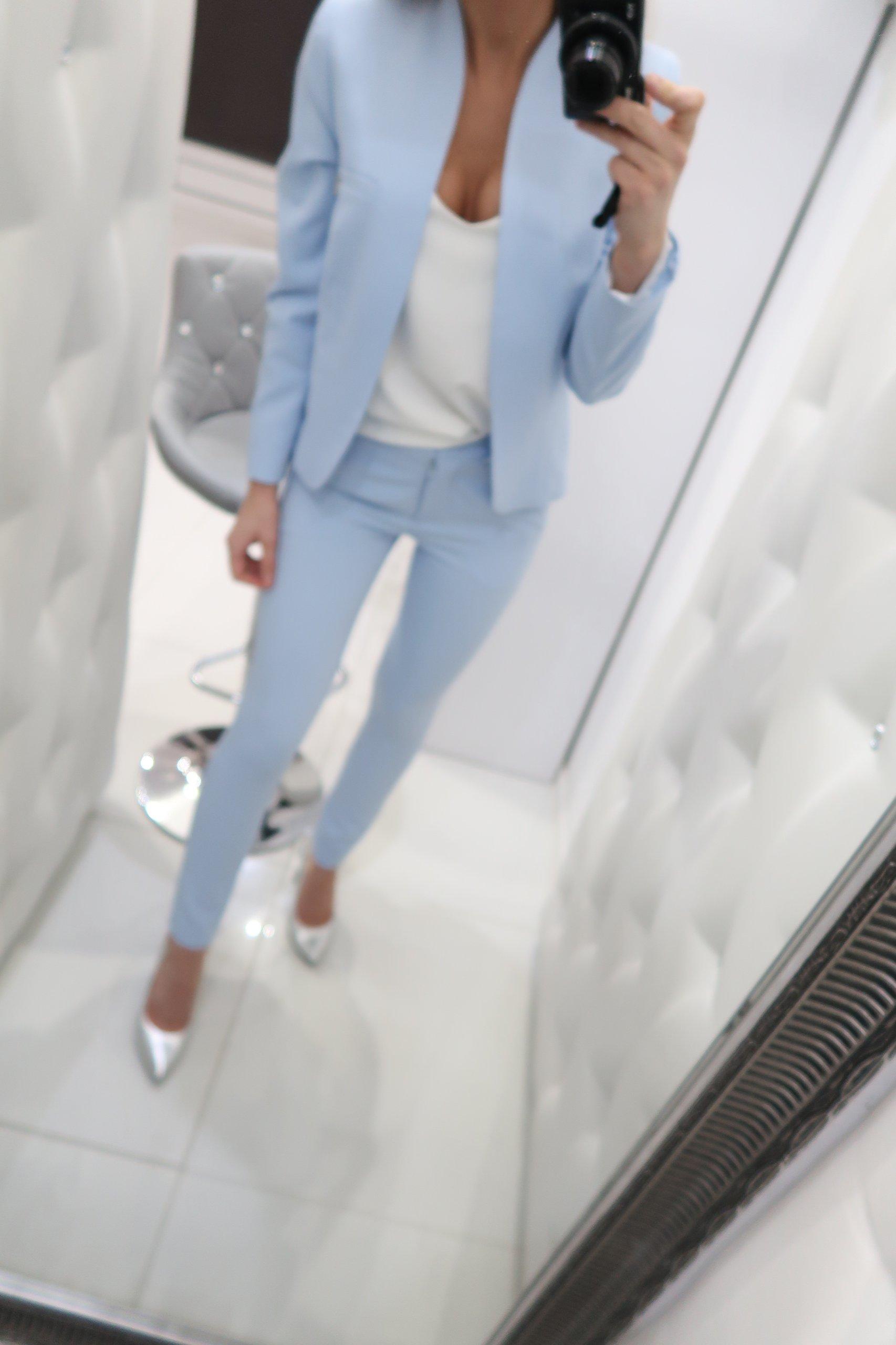 cea9973924 garnitur niebieski elegancki komplet kostium 36 - 7298959897 ...