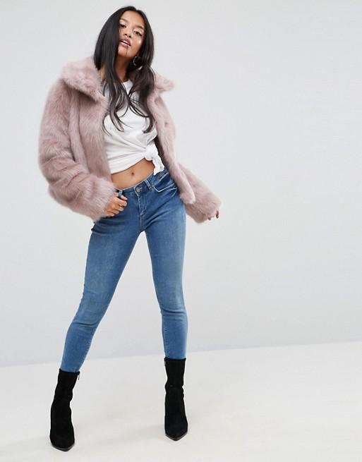 Różowe krótkie futro kurtka 44 XXL