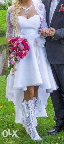 Suknia ślubna Z Przodu Krótka Z Tyłu Długa Bole 7475896159