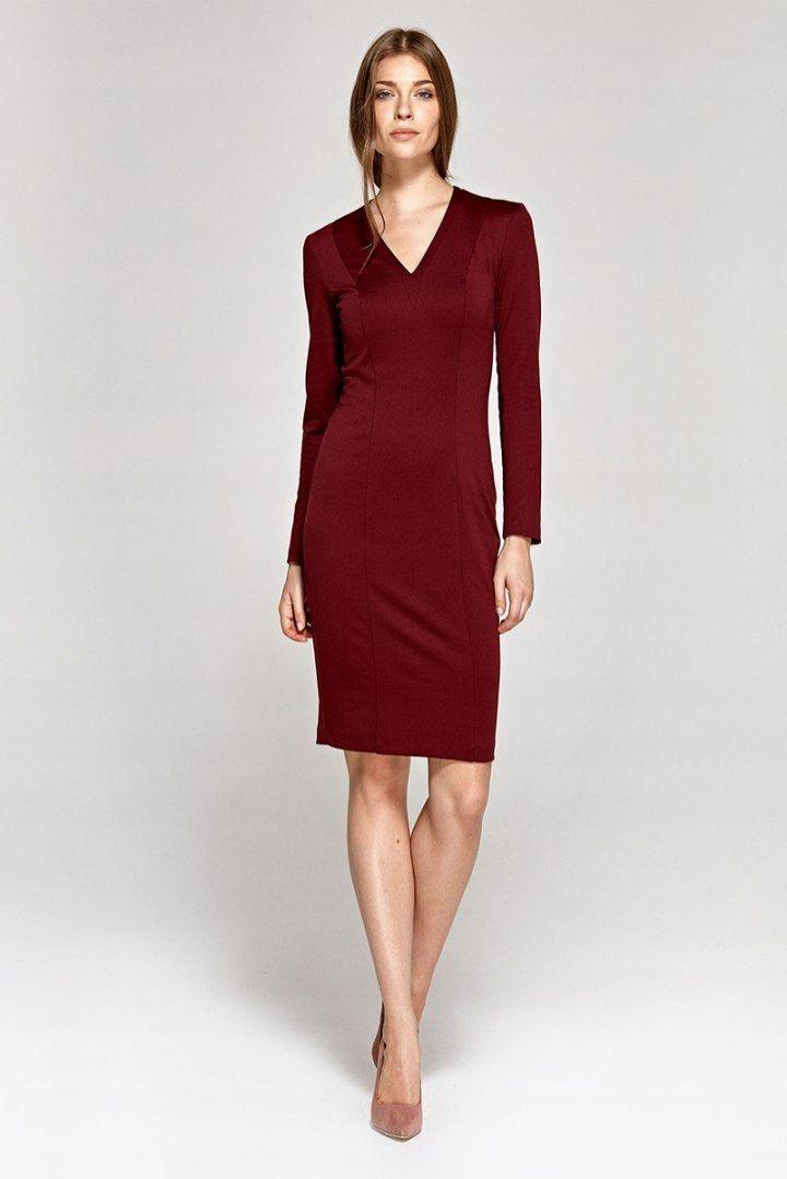 4f377af642 Sukienka z dekoltem w literę V - bordo - CS12 XL ( - 7590052852 ...