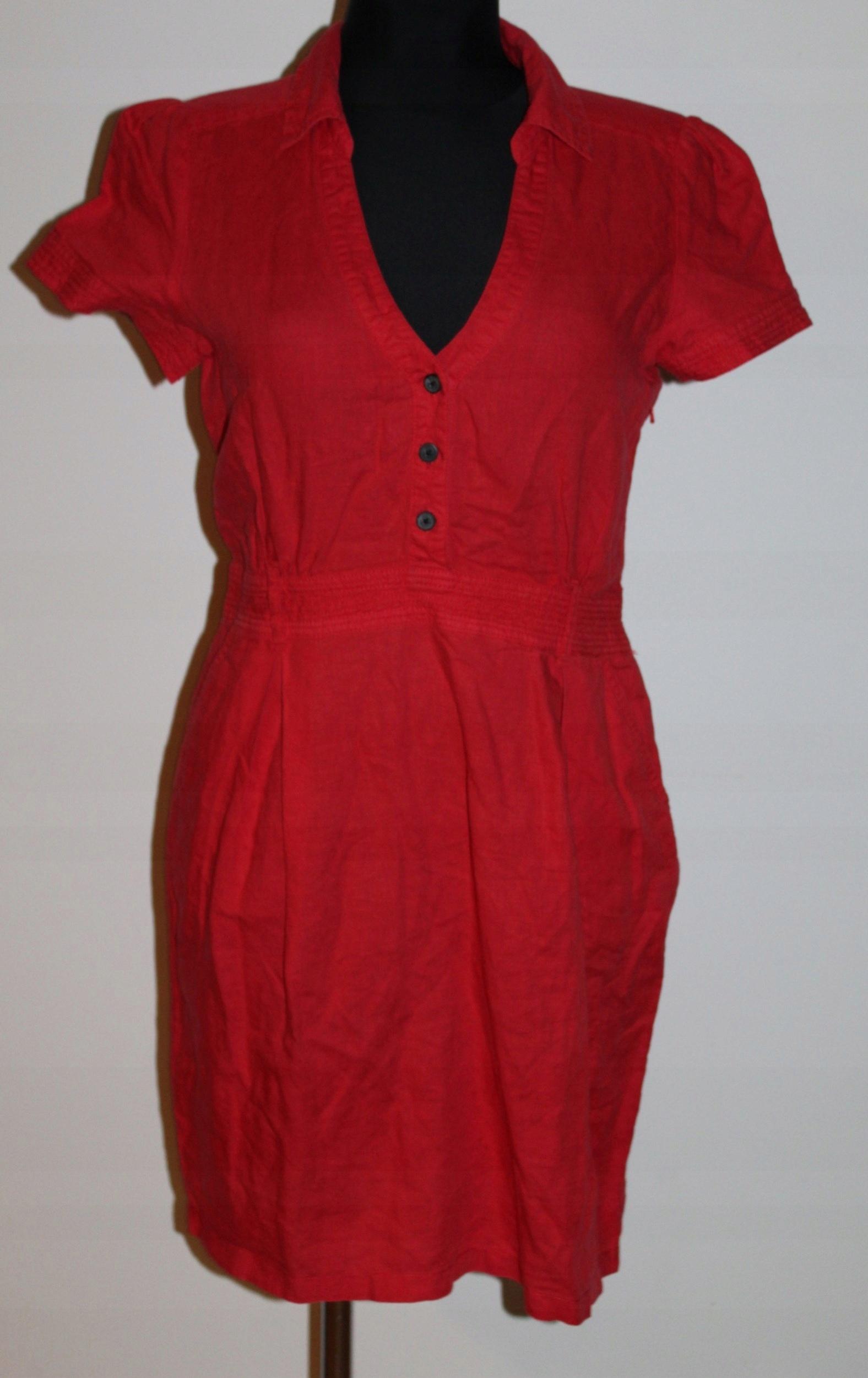 MANGO lniana czerwona wygodna sukienka 38M