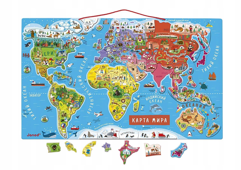 B344 Janod Mapa magnetyczna świata z puzzlami