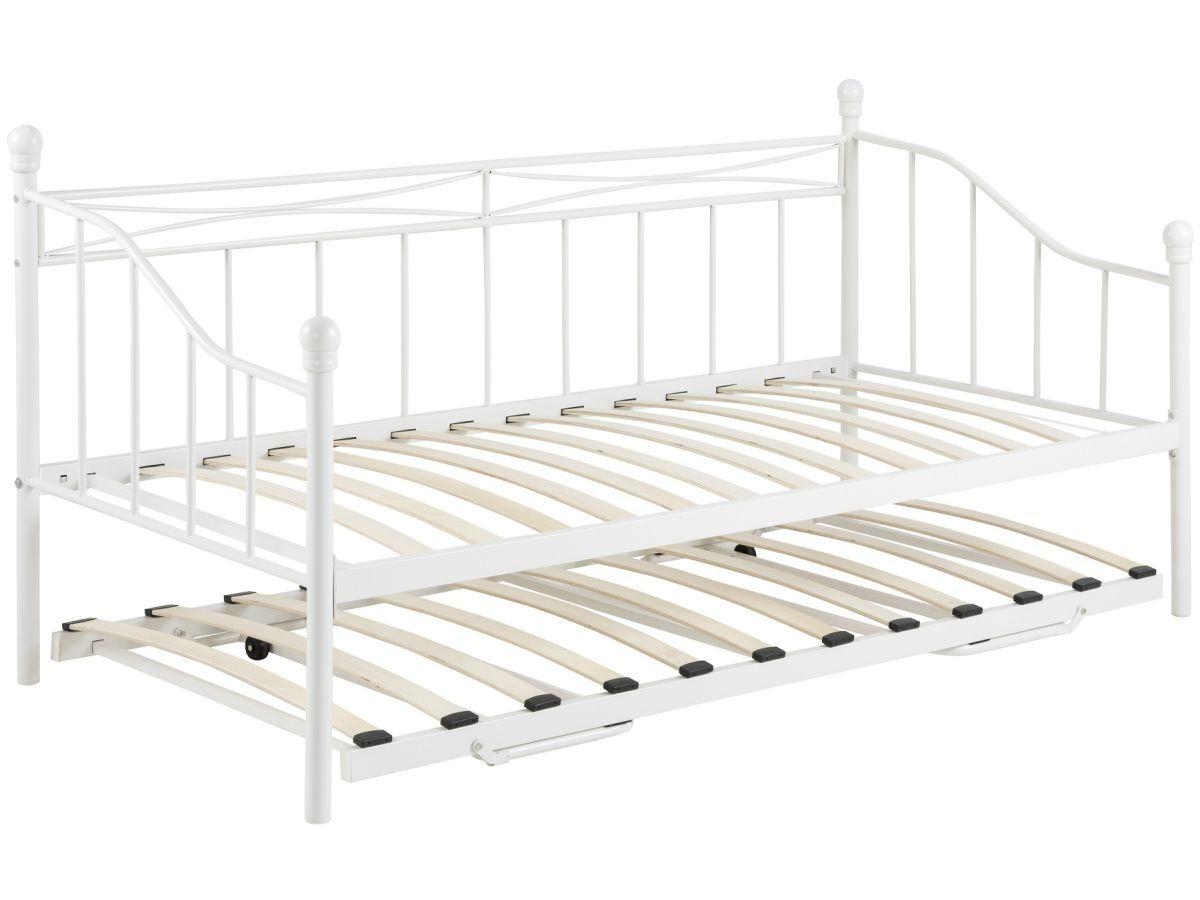 łóżko Metalowe Jednoosobowe Białe Z Dostawką 7379051689