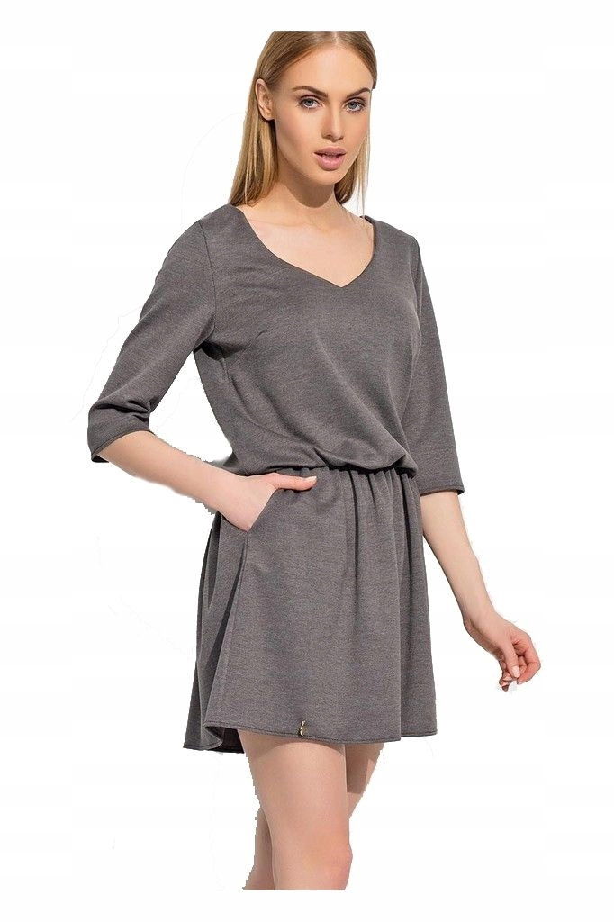 0ef91a4373 Makadamia M309 grafitowy 42 stylowa sukienka - 7434147234 ...