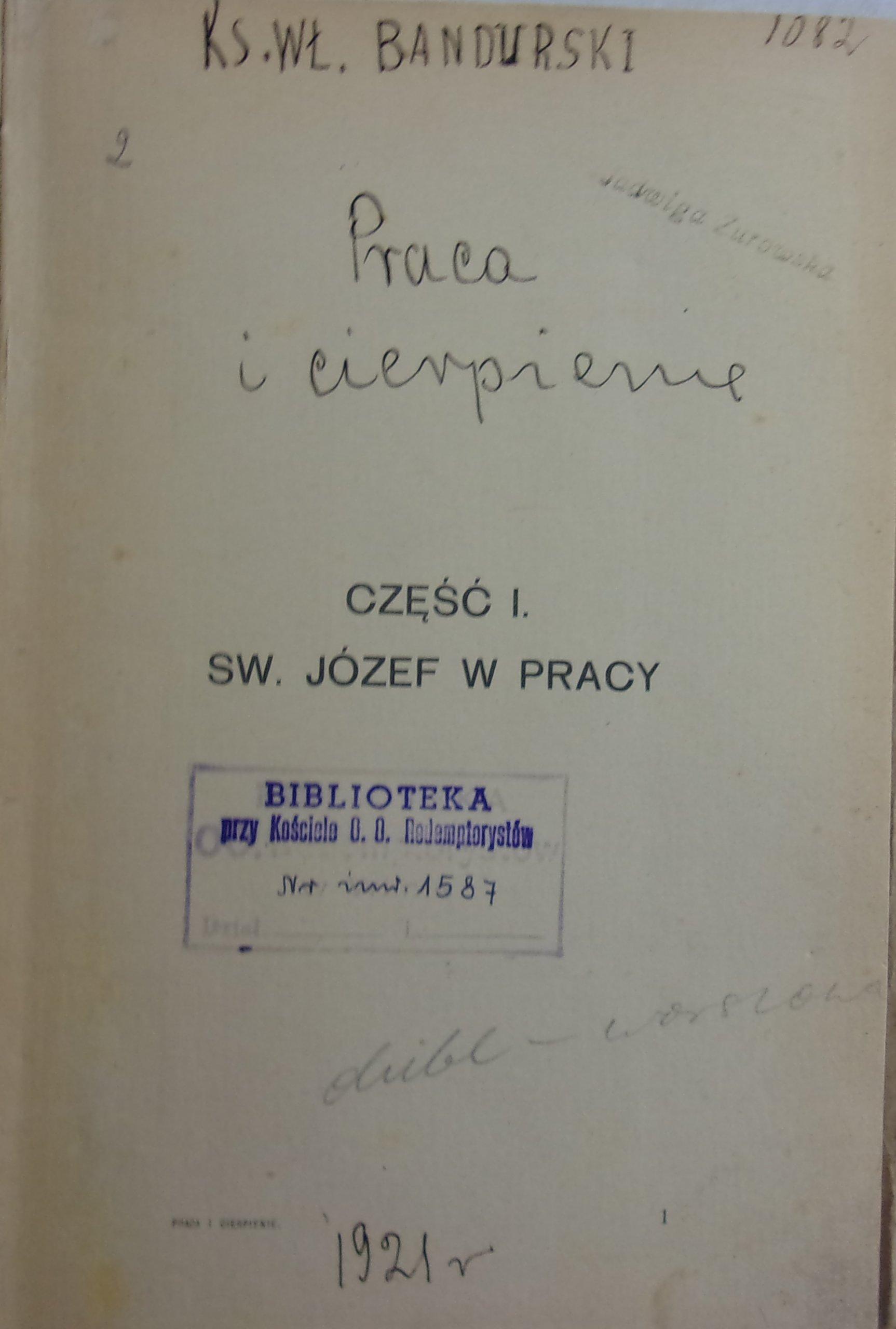 Praca z Bogiem 1921 r.