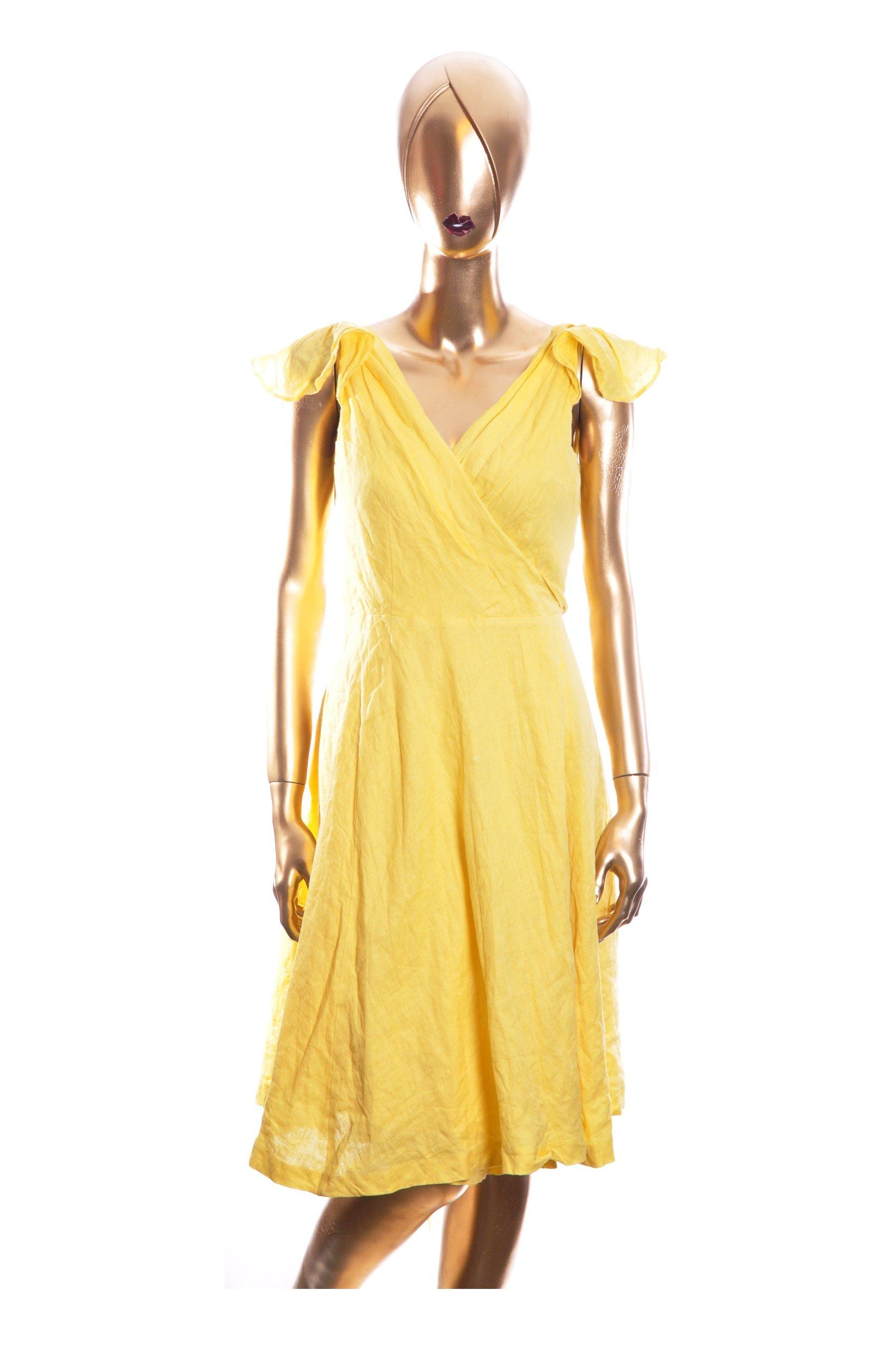 6fbf5515d1 ZARA WOMAN Lniana sukienka żółta 38 M Wesele - 6584361974 ...